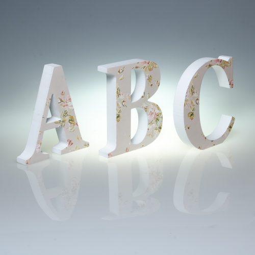 12cm Pale Floral Wooden Letters -0
