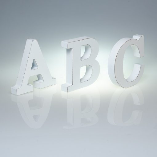 12cm Plain White Wooden Letters -0