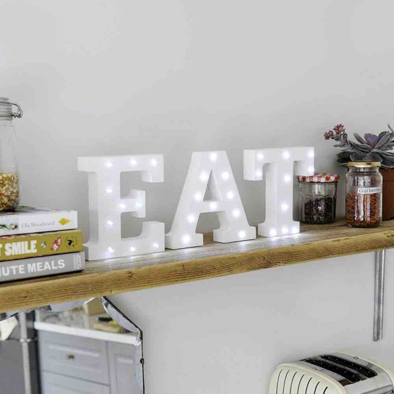 Up in Lights Decorative LED Alphabet White Wooden Letters EAT