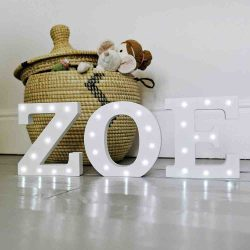 Up in Lights Decorative LED Alphabet White Wooden Letters ZOE