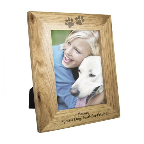 Personalised Paw Prints Wooden Photo Frame 5x7