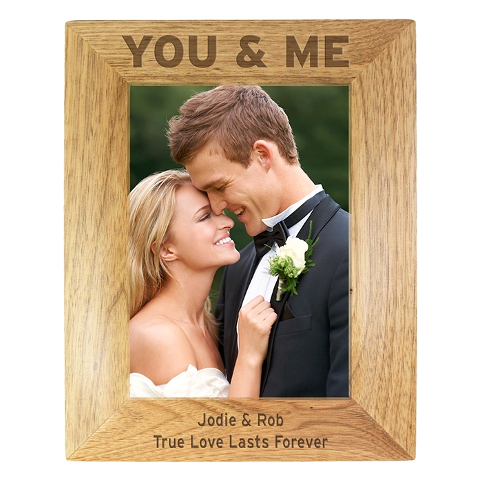 Personalised You & Me Wooden Photo Frame 5×7