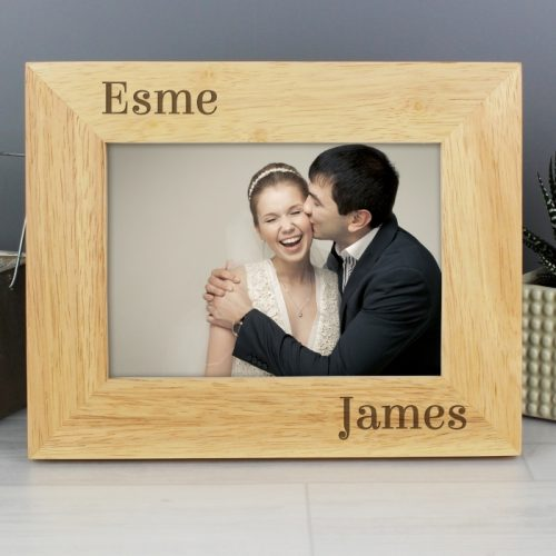 Personalised Couples Wooden Photo Frame 7x5