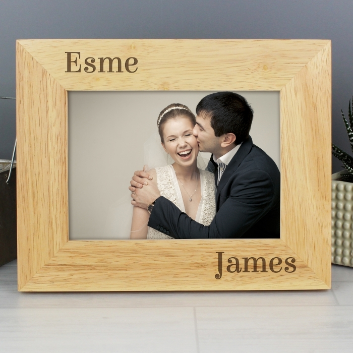 Personalised Couples Wooden Photo Frame 7×5