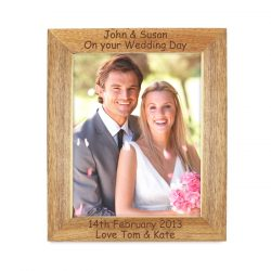Personalised 4 Lines Wooden Photo Frame 5x7