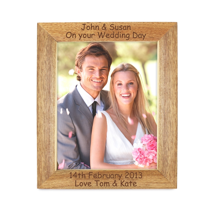 Personalised 4 Lines Wooden Photo Frame 5×7