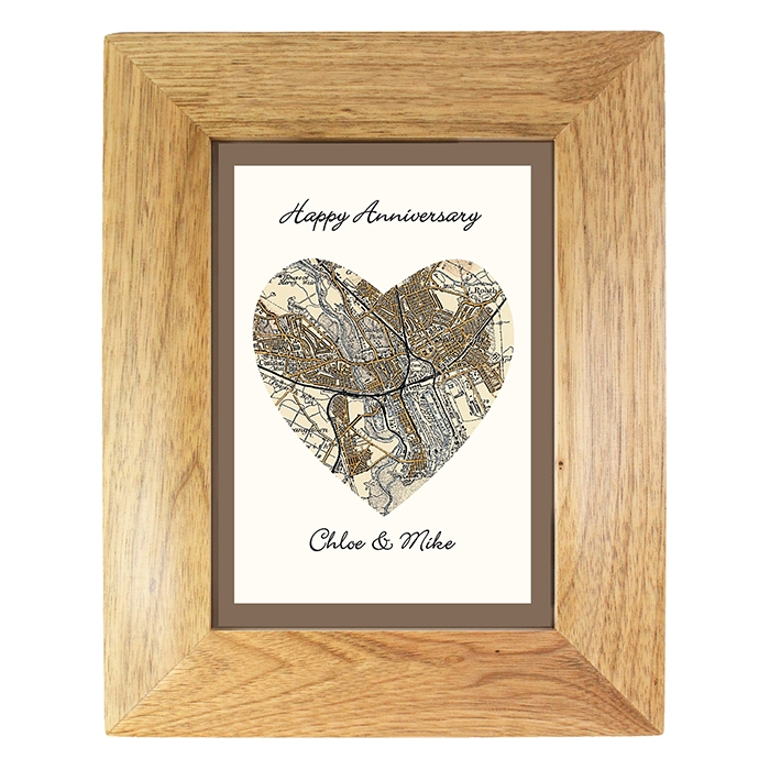 Personalised 5×7 Postcode Map Wooden Photo Frame -0