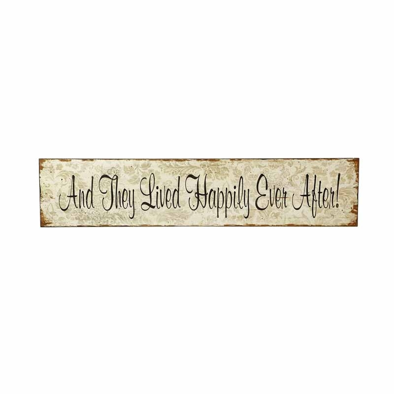 Chic & Shabby Wooden Wall Sign –  And They Lived Happily Ever After-0