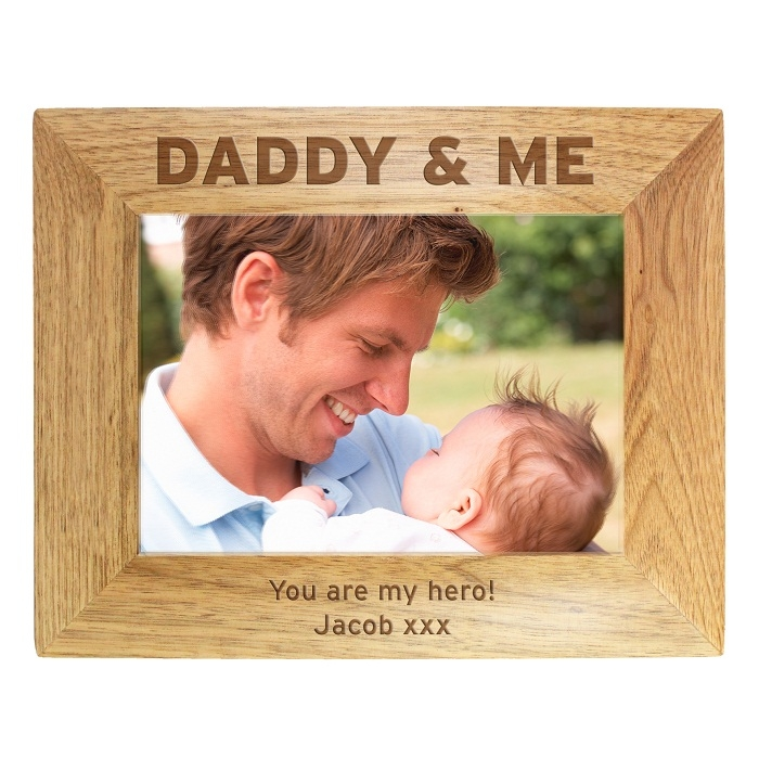 Personalised Daddy & Me Wooden Photo Frame 7×5