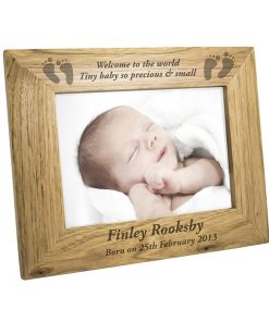 Personalised Baby Feet Wooden Photo Frame 7x5