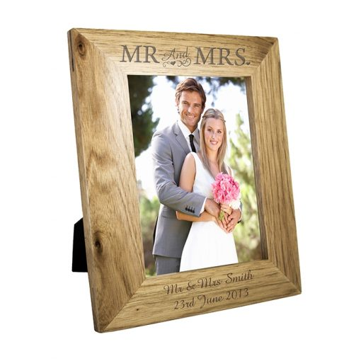 Personalised Mr & Mrs Wooden Photo Frame 5x7