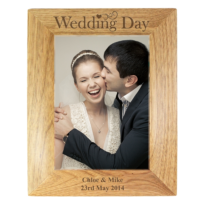 Personalised 5×7 Wedding Day Wooden Photo Frame-0