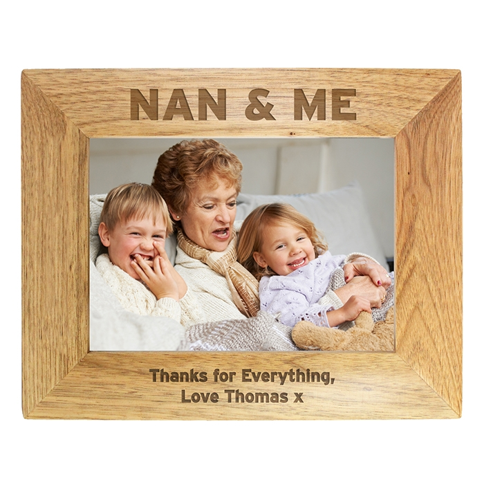 Personalised Nan & Me Wooden Photo Frame 7×5