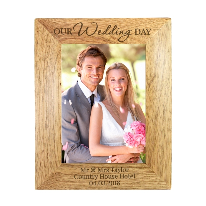 Personalised Our Wedding Day Wooden Photo Frame 5×7