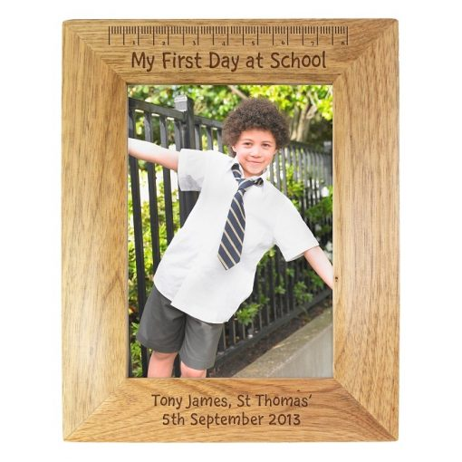 Personalised 5x7 My First Day at School Wooden Photo Frame-0