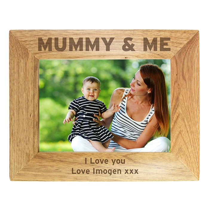 Personalised Mummy & Me Wooden Photo Frame 7×5