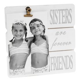 White Message Clip Photo Frame Sisters