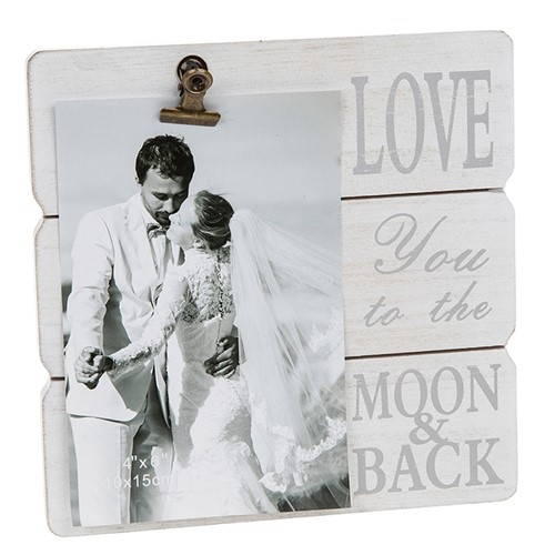 White Message Clip Photo Frame Love