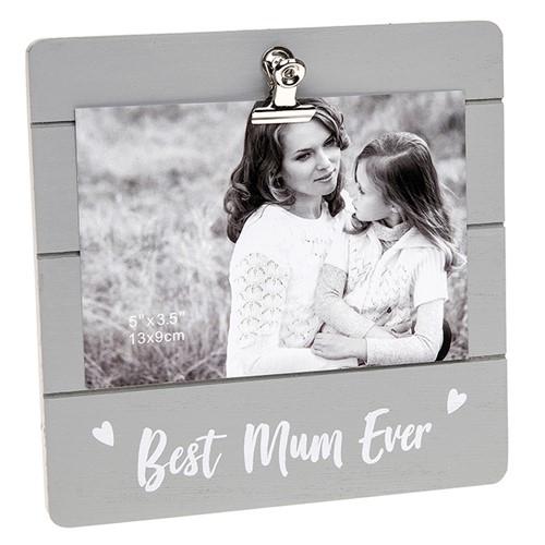 Best Mum Ever Grey Cutie Clip Photo Frame
