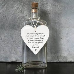 East Of India Be Bold Porcelain Heart Hanging