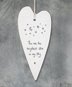 East Of India Brightest Star Elegant Porcelain Heart