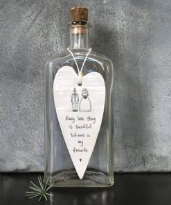 East Of India Every Love Story Elegant Porcelain Heart Hanging