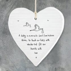 East Of India Freind Baby Miracle Porcelain Heart