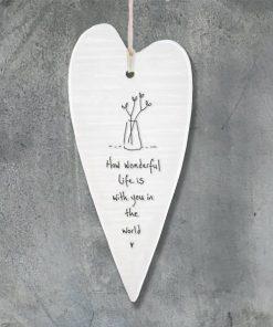 East Of India Freind Wonderful Life Elegant Porcelain Heart