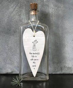 East Of India Friends Wonderful Life Elegant Porcelain Heart Hanging