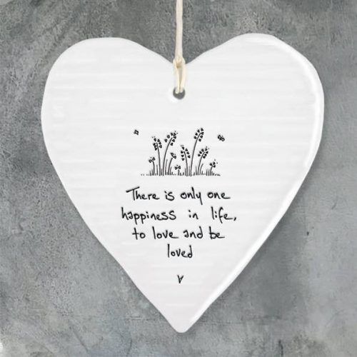 East Of India Happiness Porcelain Heart