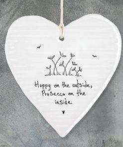 East Of India Happy Outside Porcelain Heart