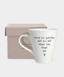 East Of India Love Always Porcelain Mug Box