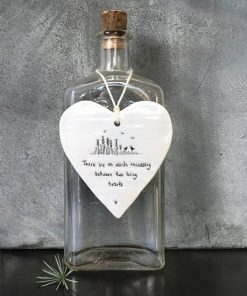 East Of India Loving Hearts Porcelain Heart Hanging
