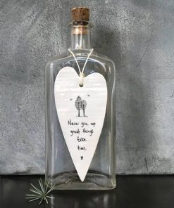 East Of India Never Give Up Elegant Porcelain Heart Hanging