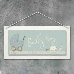 East of India Baby Boy Hanging Plaque