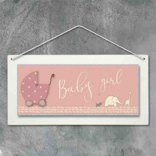 East of India Baby Girl Hanging Plaque