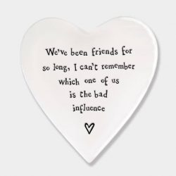 East of India Bad Influence Porcelain Heart Coaster White