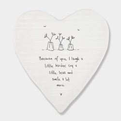 East of India Because of You Porcelain Heart Coaster White