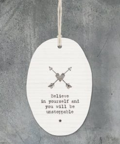 East of India Believe in Yourself Porcelain Oval