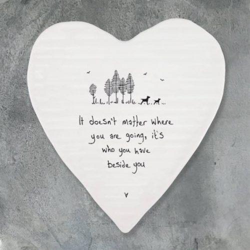 East of India Beside You Porcelain Heart Coaster