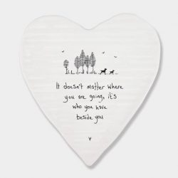 East of India Beside You Porcelain Heart Coaster White