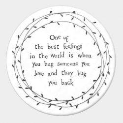 East of India Best Feelings Porcelain Leaf Coaster White
