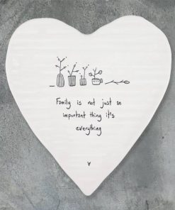 East of India Family Everything Porcelain Heart Coaster