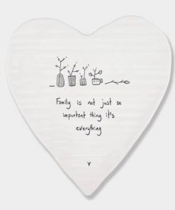 East of India Family Everything Porcelain Heart Coaster White
