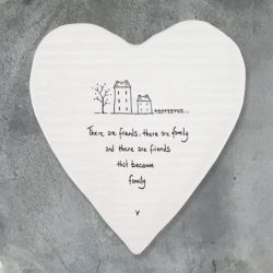East of India Friends Become Family Porcelain Heart Coaster
