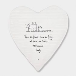East of India Friends Become Family Porcelain Heart Coaster White