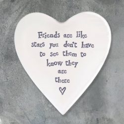 East of India Friends Like Stars Porcelain Heart Coaster