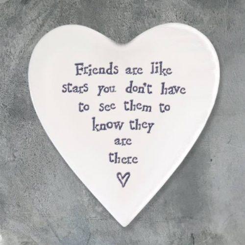 East of India Friends Like Stars Porcelain Heart Coaster