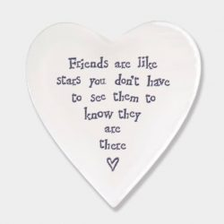 East of India Friends Like Stars Porcelain Heart Coaster White