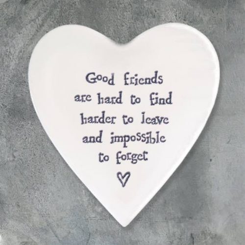 East of India Good Friends Porcelain Heart Coaster